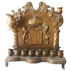 Antique Hanukkah Menorah 19thC Polish Warsaw Copper Commandments and Lions