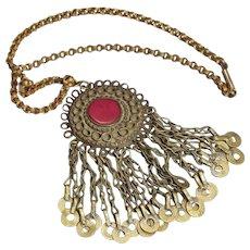 Arabic Antique Pendant Talisman Hanging Chains Necklace Copper Low Silver