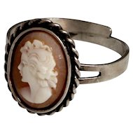 Old Cameo Ring silver 835 with Lady Face