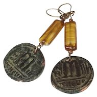 Antique Byzantine coin on vintage Drop Glass Earrings