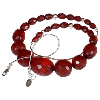 Antique Bakelite Necklace Art Deco Faceted Cherry Amber & Silver beads.