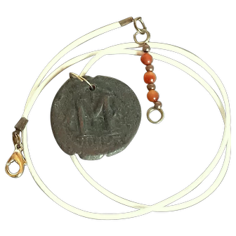Antique Byzantine Coin pendant .Leather cord white Choker Necklace.