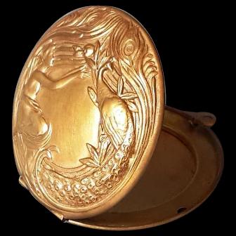 Antique Art Nouveau locket Lady & Peacock Makeup Box Copper Pendant