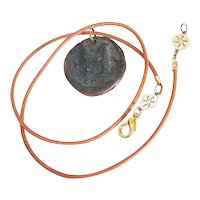 Antique Byzantine coin pendant Necklace  on Genuine Leather Cord.