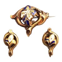 Antique Enamel Pin and clip earring set Gilded Silver 875