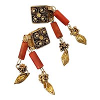Antique Granulated Clip on Earrings Gilded Sterling Silver & Coral