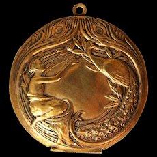 Art Nouveau  locket  Lady & Peacock Makeup Box Antique Copper Pendant - Red Tag Sale Item