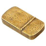 Antique 19th Century Brass Vesta Case Artist etching guilloche matchbox.