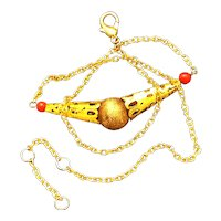Gold tone choker Necklace carnelian beads chained ball