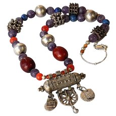 Islamic Necklace with coins,beads & Antique Yemenite Silver Amulet Pendant box