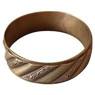 "Vintage Bracelet 89.2gr Copper Alpaca Etched jewelry 2 5/8"""
