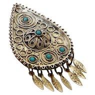 Filigree Vintage Silver Pin Drop Shape Pendant Israel 60's Sterling+ 935 Brooch