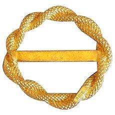 Gold tone Scarf Clips vintage designer signed LIDZ tie ring fine Belt buckle