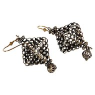 Filigree Silver 800 Gilded Earrings Granulated articulate Cube Vintage Jewelry