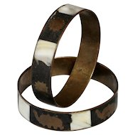 Vintage Copper Bracelet pair with mother pearl and copper design inlaid.