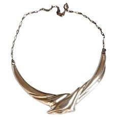 Designer Necklace signed Silver 925 Brutalist wax Technique Modernist Pendant