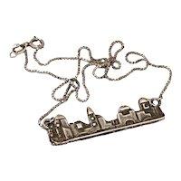 Vintage Jerusalem Silver Pendant Necklace
