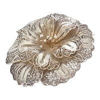 Vintage Filigree Flower Brooch Silver 900 Pin