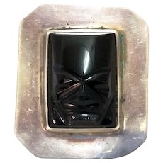 Vintage Silver Black Onyx Brooch Mexico Mask Pin