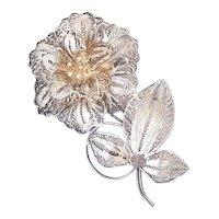 Vintage Flower Filigree Brooch silver 900 Pin