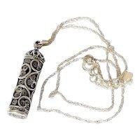 Vintage Silver Filigree amulet necklace signed