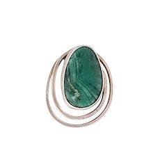 Vintage Modernist Elat stone Brooch Pendant Sterling Silver Pin
