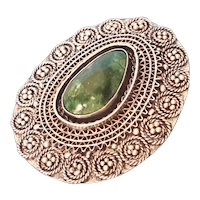 Vintage Filigree Eilat stone Silver Brooch Elat Pendant