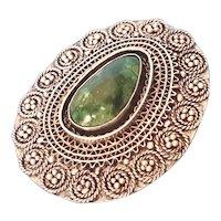 Vintage Filigree Elat stone Silver Brooch Pendant