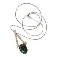 Vintage Elat stone silver Pendant Necklace
