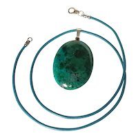 Vintage Elat stone Pendant Turquoise color Leather cord choker Necklace
