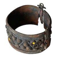 Old Vintage ethnic Copper Hinge Bracelet Pin Lock Bangle