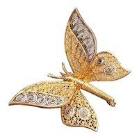Vintage Filigree Pin gilded Butterfly Brooch Germany sterling silver Van Lou 14 Marcasites
