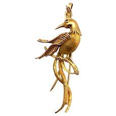 Vintage Paradise Bird Pin Pendant 18K yellow Gold ruby eye Brooch 750