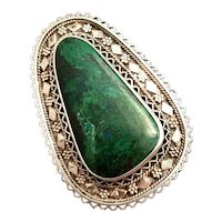 Vintage 1950's Elat stone Pin Pendant Filigree Granulated work brooch Sterling Silver 925 Eilat Green stone Israel signed