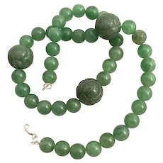 Vintage Heavy Jade Green Jadeite Necklace 3 large etched icy emerald color & 40 beads silver 925 clasp