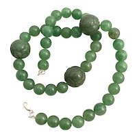 Vintage Jade Green Jadeite Necklace 3 large etched icy emerald color & 40 beads.