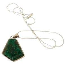 Vintage Elat stone Pentagon modernist Sterling Silver Pendant Necklace