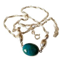 Vintage Malachite stone Sterling silver necklace