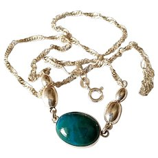 Vintage Malachite stone Sterling silver necklace
