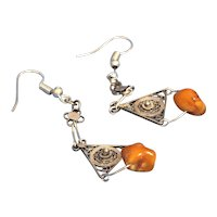 Silver filigree Earrings with Antique Baltic amber & vintage filigree elements