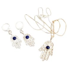 Sterling Silver filigree Hamsa earrings Necklace Set good luck hand