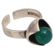 Vintage Finland Ring 925H S7 green agate 1971 Designer Kultaseppä Salovaara