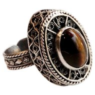 "Vintage Silver Filigree Ring Tiger Eye Stone Adjustable signed ""Israel 925"""