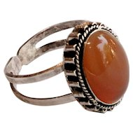 "Vintage Agate Stone Silver Ring twisted rope design Adjustable signed ""Israel 925"""