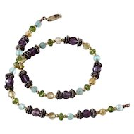 Vintage Necklace 14K gold,Amethyst,Blue topaz,Citrine & Sterling silver Beads