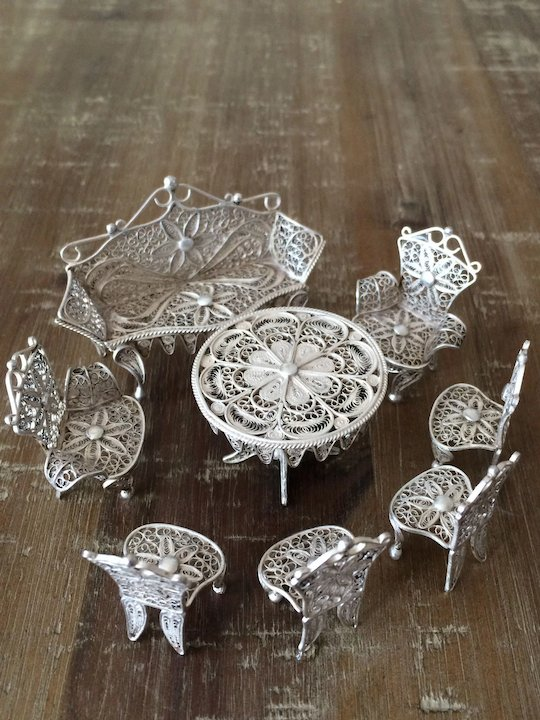 Solid Silver antique Miniature Dolls Furniture Set. Hallmarked Filigree 8  pcs - Solid Silver Antique Miniature Dolls Furniture Set. Hallmarked