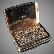 Solid Silver Vinaigrette. Thomas Shaw, Birmingham 1839.
