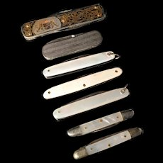 Vintage Collection of Pocket Knifes. Bone MOP Metal.