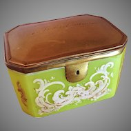 Large Antique French Green Opaline Casket Box. 18th c.