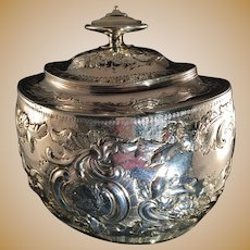 Solomon Hougham 1799. 15oz Tea Caddy Sterling Silver London. Very Rare. Excellent condition.